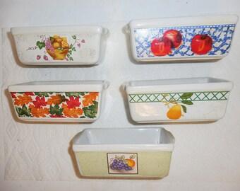 5 Nantucket Mini Loaf Pans Ceramic Dishwasher Oven Microwave Safe