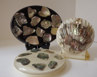 Abalone Resin Hot Plates & Napkin Holder, Three Piece Set, New Designs Inc. USA, Mother Of Pearl, Beach House Decor 1970's