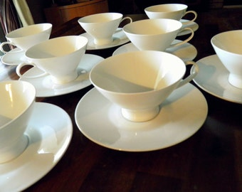 "Set of 8 Mid Century Raymond Loewy-Design ""Continental Classic Modern White"" Porcelain Cups & Saucers--Produced 1956-1988--Rosenthal Germany"