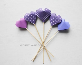 6 origami heart cake toppers || party centerpieces || wedding cake toppers || {heart like a balloon} -purple varying