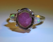 Watermelon Tourmaline Slice Sterling Silver Ring w/Opal Accents size 7