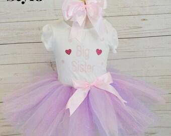 Big sister tutu outfit,FREE SHIPPING,big sis with hearts tutu set, light pink and lilac tutu.