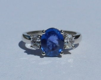 GIA Certified Natural Untreated 2.16 Carat Sapphire Diamond Engagement Ring 14kt White Gold