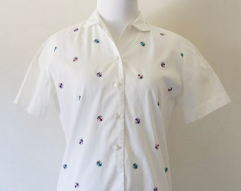 White Short Sleeve Button Down Shirt with Embroidered Detail with Cute Bugs