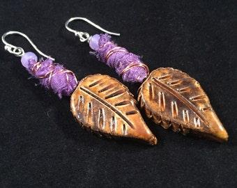 ceramic leaf earrings, gardener gift, boho earrings, gift mom, mixed media jewelry, mothers day from daughter, sterling silver earrings