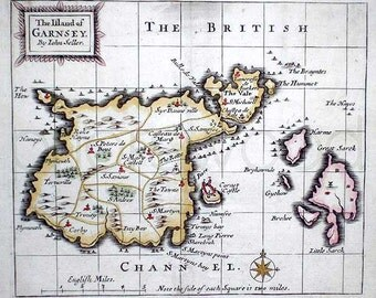 Guernsey 1703. The Channel Islands. Antique Map of Guernsey UK by John Seller - MAP PRINT
