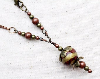 Brown Bead Necklace Handmade Brown Beaded Jewelry Short Boho Rustic Mixed Metal
