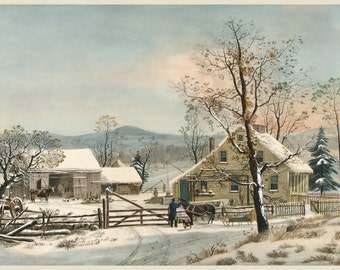 Currier and Ives: Reproductions - A New England Winter Scene, 1863. Fine Art Print.