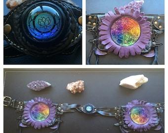 Lotus flower glass belt Lost sailor leather collab M