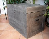 antique,charcoal grey,painted wooden/crate/chest/box/trunk/table-old,primitive storage box-iron handles-shabby chic