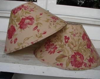 pair French shabby chic,vintage fabric light shades,oatmeal, sage,raspberry floral fabric light lamp applique shades
