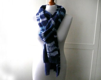 Hand dyed cotton scarf - tie dyed cotton scarf - blue and white cotton scarf - indigo blue cotton scarf