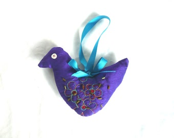 Hand made silk bird - beaded bird decoration - embroidered silk Christmas decoration - fabric bird Xmas decoration - embroidered silk bird