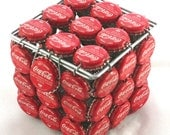 COCA COLA TRINKET Box- made from Re-cycled bottle tops. Hand created in South Africa. Useful decor trinket box. Item has aged recycled look.