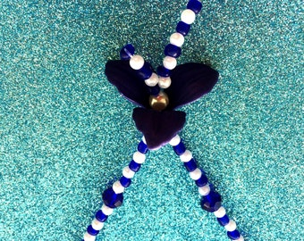 """Dark Blue Crystal and White Pearl 16"""" Fashion Necklace with flower floral centrepiece-Gifts for her-Ladies Jewellery-Flower Jewellery-Gift"""