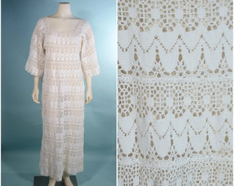 VTG White Lace Crochet Bohemian Wedding Dress/Mexican Lace Music Festival Concert Maxi/ Sheer Lace Boho Chic Hippie Hipster Bridal Gown M