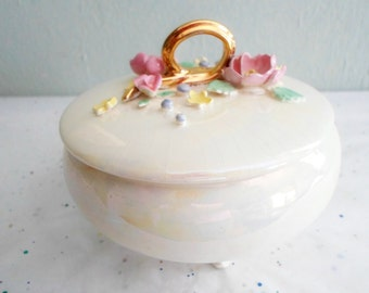 White Iridescent Porcelain Footed Trinket Box with Applied Flowers
