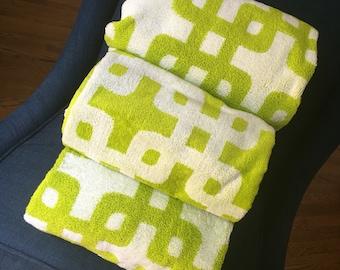 SALE! Monogrammed Chartreuse Green Geometric Reversible Modern Print Terry + Velour Beach Towels