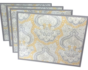 Blank note cards, handmade stationery, yellow and gray damask print, grey notecards, blank thank you notes