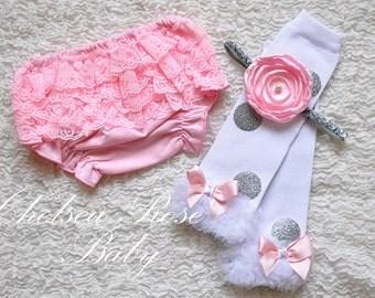 Pink and silver polka dot leg warmers, baby leg warmers, girls leg warmers, pink silver birthday outfit Silver glitter leg warmers, leggings