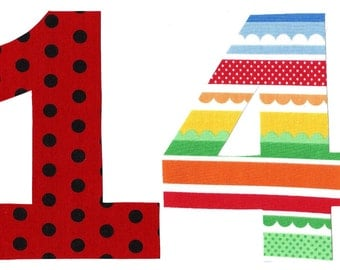 Pick any number and any fabric - number iron on applique DIY birthday number