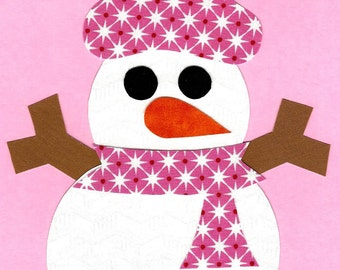 Snowlady / snowman iron on applique DIY