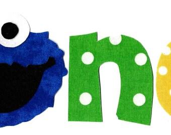 DIY Cookie Monster one birthday one applique iron on applique - birthday
