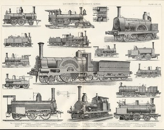 1884 Print of Locomotive Engines - Original Black and White Print Showing Various Types of Steam Locomotives. Railway Engineering Print.