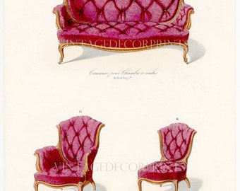 French Interior Furniture Design Print of Chairs by Guilmard Paris c1866. Original French Antique Hand coloured Lithograph. Decorative Print
