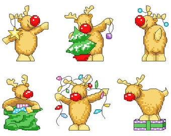 Rudolph Christmas Cards Cross Stitch Pattern