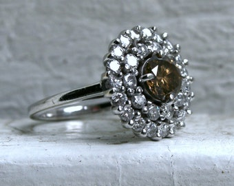 Gorgeous Vintage 14K White Gold Cognac Diamond Halo Engagement Ring - 2.02ct.