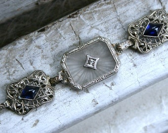 RESERVED - Gorgeous Vintage Camphor Glass Filigree Bracelet, 14K White Gold with Diamond and Sapphires.
