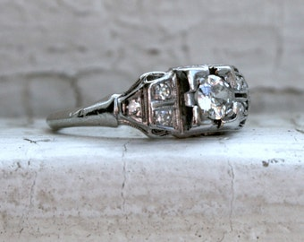 Sweet Vintage Platinum Diamond Art Deco Engagement Ring - 0.39ct