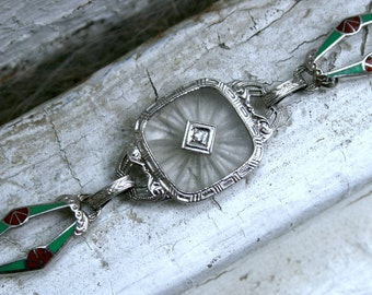Beautiful Vintage 14K White Gold Camphor, Diamond, Enamel and Chrysoprase Bracelet.