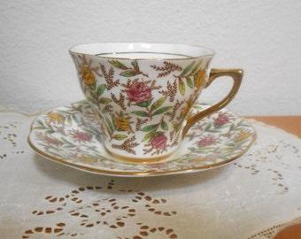 Vintage English Bone China Teacup and Saucer Rosina China , Tea Cup and Saucer with Chintz Flowers