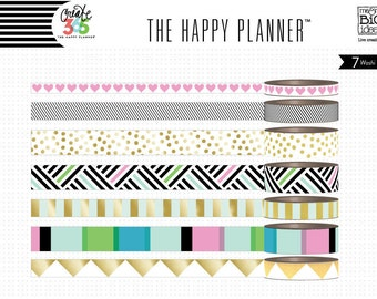 Bold and Gold - Create 365 by Me & My Big Ideas - Washi Tape 7 Roll Set for Planners and More