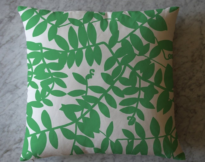 Pillow with Green Pea Leaves. July 25, 2012