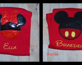 Mister or Miss  Mouse Head Embroidered Shirt