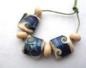 blue silver seas handmade lampwork glass beads