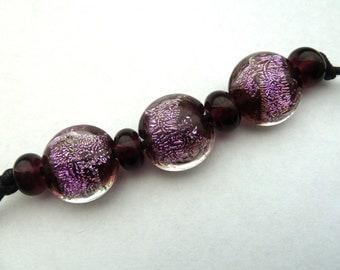 purple sparkle handmade lampwork glass beads