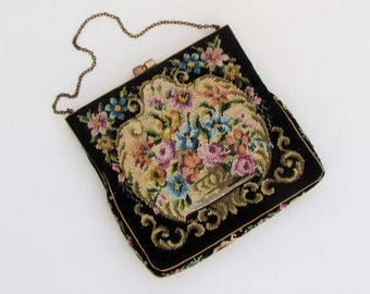 Vintage petit point purse made in Austria, c.1930's small evening bag with floral petit point