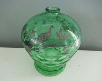 Glass Peacock Vase - Green Glass Peacock Jar - Silver Overlay Peacock Jar - Honeycomb Glass Vase - Vintage Green Bottle