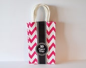 chevron Gift Bags Goodie Bags Party Favor Bags Pink Decor Party Decor 10 Handled Bags Swag Bags