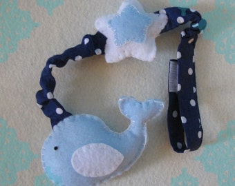Whale Stroller/ Car Seat Toy- Light Blue, Navy and White