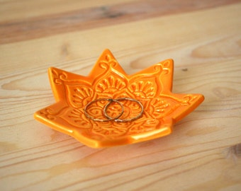 Orange Boho Trinket Dish - Ring Holder - Star Shaped Dish - Handmade Bohemian Star Dish - Teacher Gift - Stocking Stuffer- Co-worker Gift