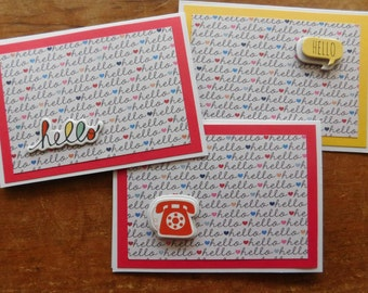 "Hello Note Cards - Handmade Greeting cards with ""hello"" - set of 3 note cards"