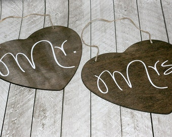 Mr & Mrs Hanging Signs, Heart Shape