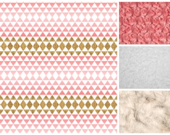 Gold and Coral Baby Blanket, Girl Baby Blanket, Baby Girl MINKY Blanket, Minky Baby Blanket, Ombre Triangles Baby, Personalized Baby Blanket