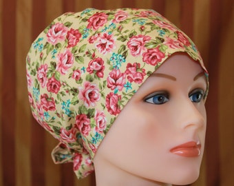 Tie Back Surgical Scrub Hat/Chemo Hat--Hey Sussanah