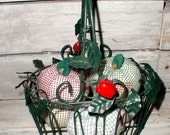 Green Metal Wire Basket With Leaves & Apples Plus Five Fabric Soft Apples *Country Kitchen* Cottage Decor
